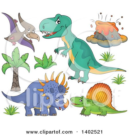 Clipart of Dinosaurs and a Volcano - Royalty Free Vector Illustration by visekart