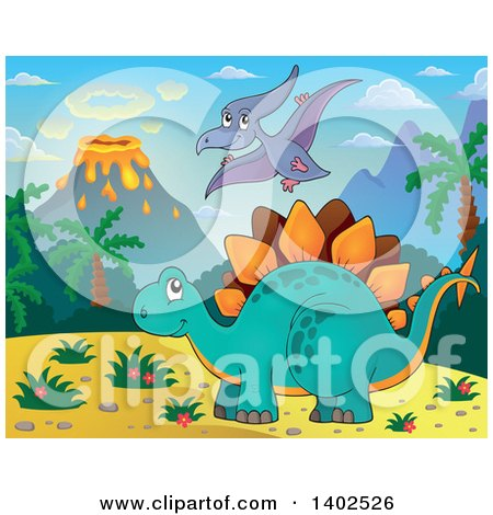 Clipart of a Stegosaur Dinosaur and Pterodactyl in a Volcanic Landscape - Royalty Free Vector Illustration by visekart