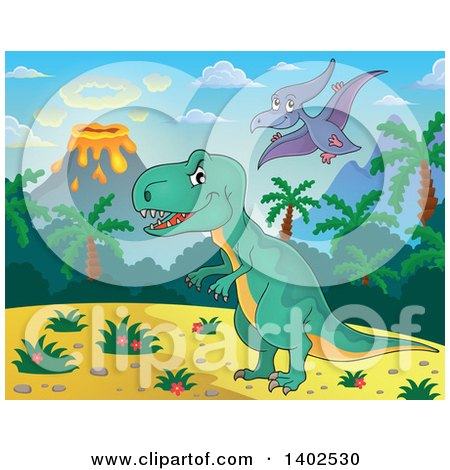 Clipart of Pterodactyl and T Rex Dinosaurs in a Volcanic Landscape - Royalty Free Vector Illustration by visekart