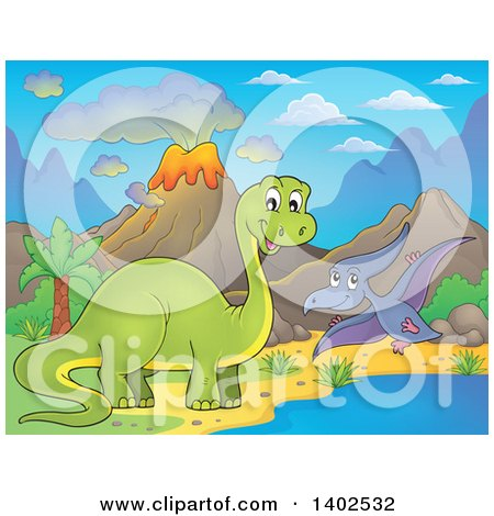 Clipart of Apatosaurus and Pterodactyl Dinosaurs in a Volcanic Landscape - Royalty Free Vector Illustration by visekart