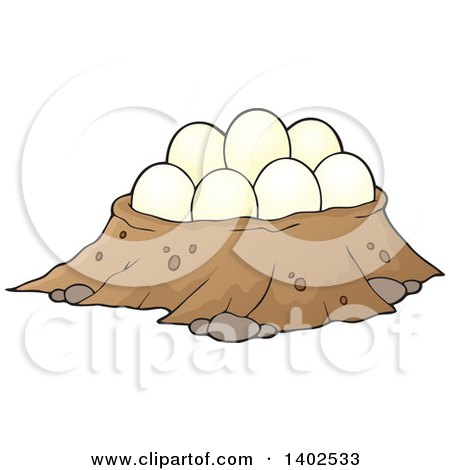 Clipart of a Dinosaur Nest with Eggs - Royalty Free Vector Illustration by visekart