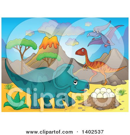 Clipart of Dinosaurs in a Volcanic Landscape - Royalty Free Vector Illustration by visekart