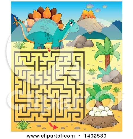 Clipart of a Stegosaur Dinosaur Maze - Royalty Free Vector Illustration by visekart