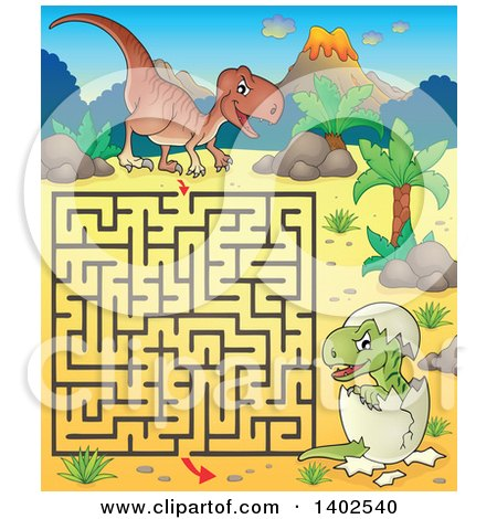 Clipart of a Raptor and Hatching Baby Maze - Royalty Free Vector Illustration by visekart