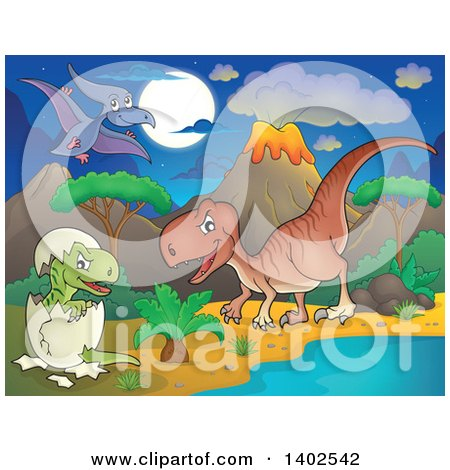 Clipart of Dinosaurs in a Volcanic Landscape at Night - Royalty Free Vector Illustration by visekart