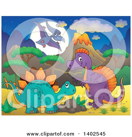 Clipart of Pterodactyl, Stegosaur and Spinosaurus Dinosaurs in a Volcanic Landscape at Night - Royalty Free Vector Illustration by visekart