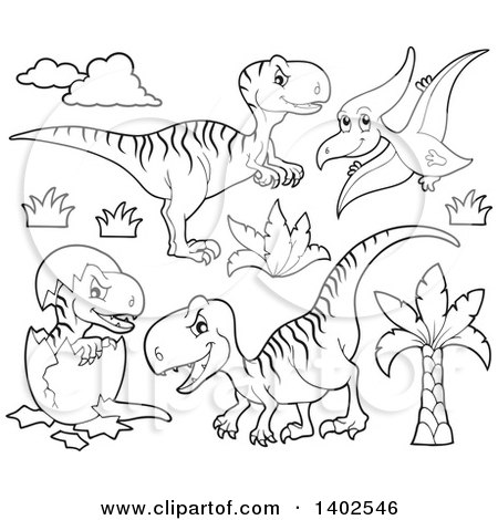 Clipart of Black and White Lineart Dinosaurs - Royalty Free Vector Illustration by visekart