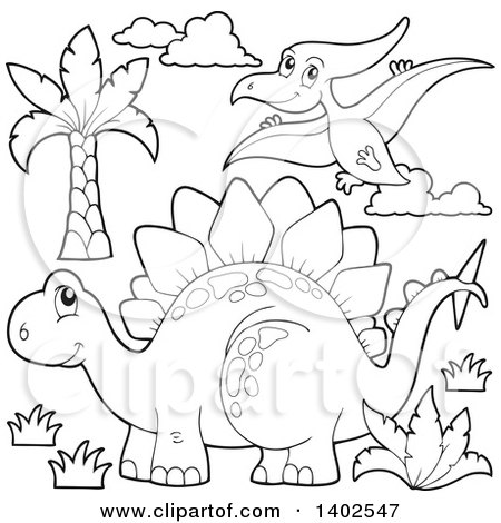 Clipart of a Black and White Lineart Stegosaur Dinosaur and Pterodactyl - Royalty Free Vector Illustration by visekart