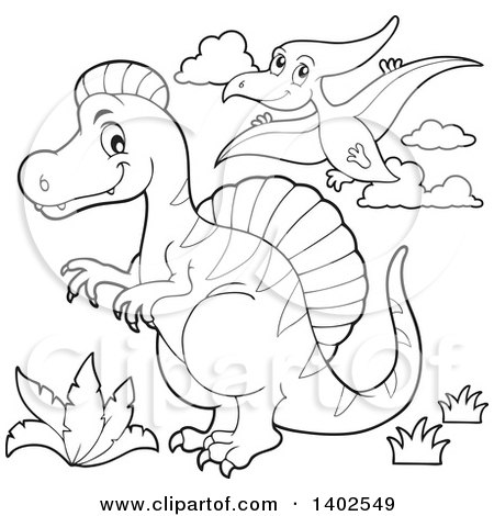Clipart of Black and White Spinosaurus and Pterodactyl Dinosaurs - Royalty Free Vector Illustration by visekart