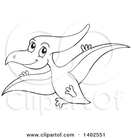 Clipart of a Black and White Lineart Flying Pterodactyl Dinosaur - Royalty Free Vector Illustration by visekart