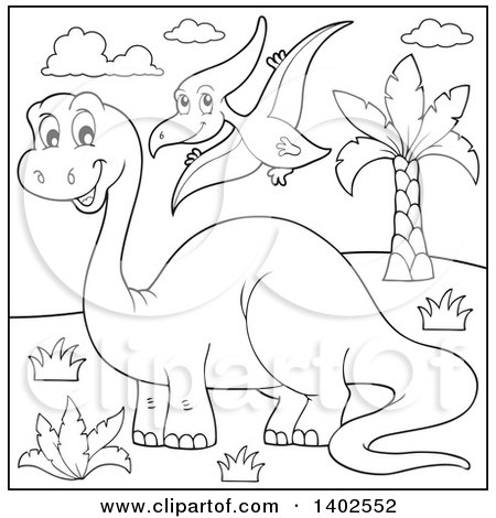 Clipart of Black and White Lineart Apatosaurus and Pterodactyl Dinosaurs - Royalty Free Vector Illustration by visekart