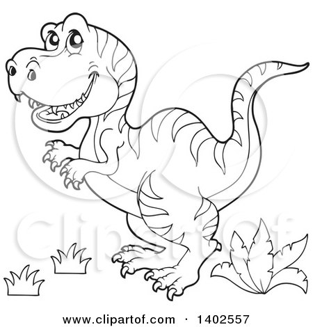 Clipart Of A Black And White Lineart Tyrannosaurus Rex Dinosaur