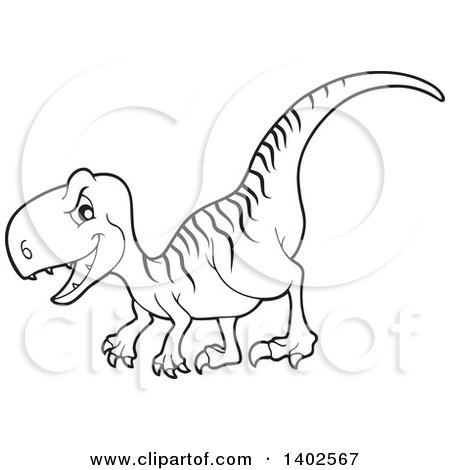 Clipart of a Black and White Lineart Raptor Dinosaur ...