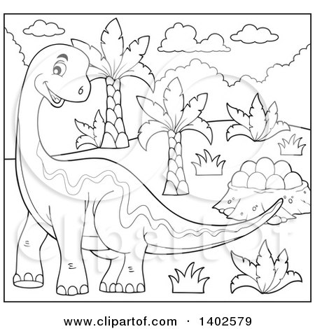 Clipart of a Happy Black and White Lineart Apatosaurus Dinosaur - Royalty Free Vector Illustration by visekart