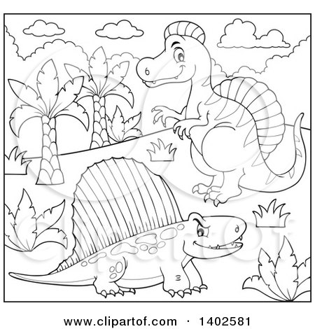 Clipart of Black and White Lineart Spinosaurus and Pelycosaur Dinosaurs - Royalty Free Vector Illustration by visekart