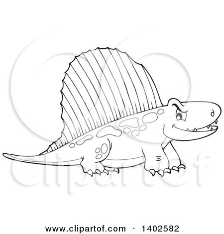 Clipart of a Black and White Pelycosaur Dinosaur - Royalty Free Vector Illustration by visekart