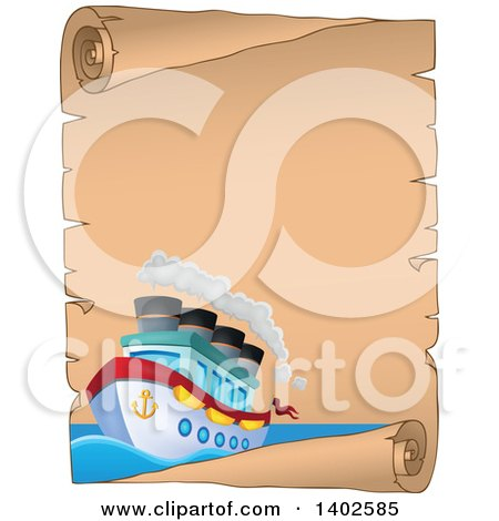 Clipart of a Parchment Scroll Page with a Ship - Royalty Free Vector Illustration by visekart