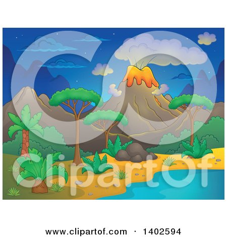 Clipart of a Prehistoric Landscape of a Volcano Erupting, and a Tropical Shore at Night - Royalty Free Vector Illustration by visekart