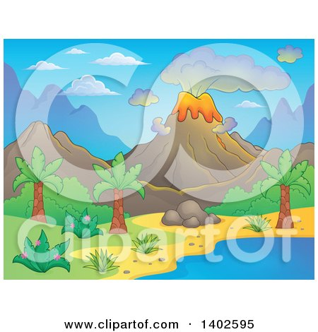 Clipart of a Prehistoric Landscape of a Volcano Erupting, and a Tropical Shore - Royalty Free Vector Illustration by visekart