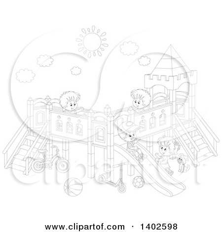 Clipart of a Black and White Lineart Group of Happy Caucasian Children Playing on a Playground - Royalty Free Vector Illustration by Alex Bannykh