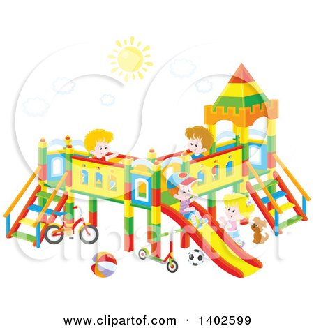 Clipart of a Group of Happy Caucasian Children Playing on a Playground - Royalty Free Vector Illustration by Alex Bannykh