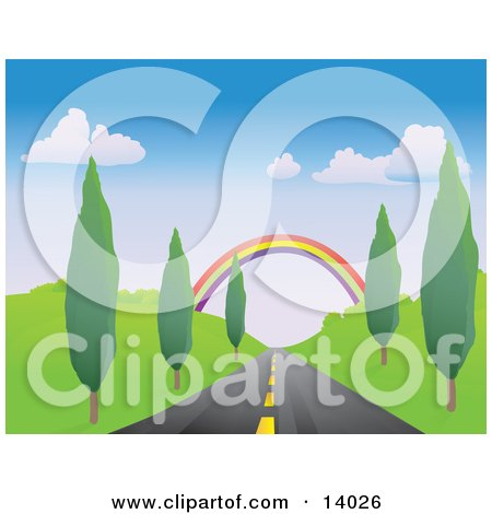 Colorful Rainbow Spanning Over a Strait Tree Lined Road Clipart Illustration by Rasmussen Images