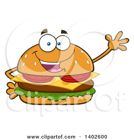 Clipart of a Cheeseburger Character Mascot Waving - Royalty Free Vector Illustration by Hit Toon