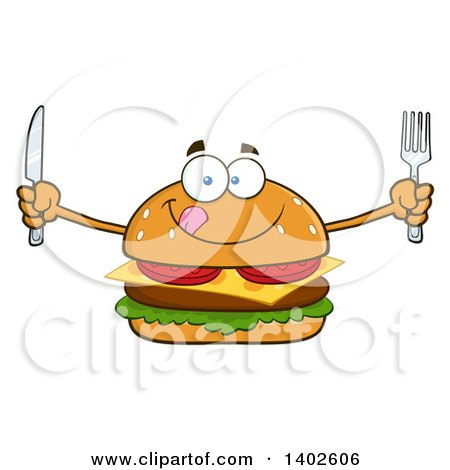 Clipart of a Hungry Cheeseburger Character Mascot Holding Cutlery - Royalty Free Vector Illustration by Hit Toon