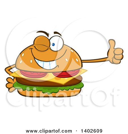 Clipart of a Cheeseburger Character Mascot Winking and Giving a Thumb up - Royalty Free Vector Illustration by Hit Toon