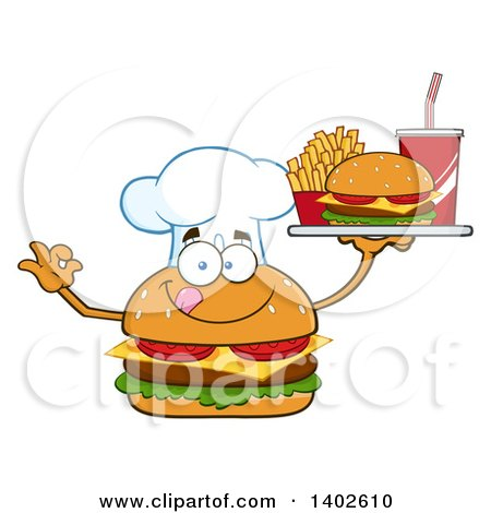 Clipart of a Chef Cheeseburger Character Mascot Holding a Tray of Food - Royalty Free Vector Illustration by Hit Toon