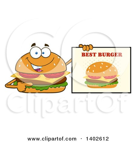 Clipart of a Cheeseburger Character Mascot Pointing to a Best Burger Sign - Royalty Free Vector Illustration by Hit Toon
