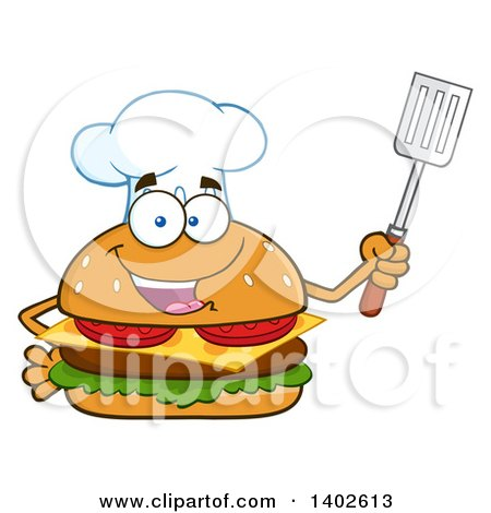 Clipart of a Chef Cheeseburger Character Mascot Holding a Spatula - Royalty Free Vector Illustration by Hit Toon