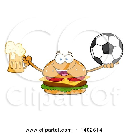 Clipart of a Cheeseburger Character Mascot Holding a Beer and Soccer Ball - Royalty Free Vector Illustration by Hit Toon