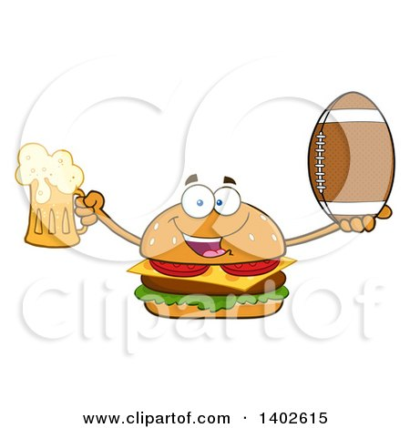 Clipart of a Cheeseburger Character Mascot Holding a Beer and American Football - Royalty Free Vector Illustration by Hit Toon