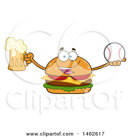 Clipart of a Cheeseburger Character Mascot Holding a Beer and Baseball - Royalty Free Vector Illustration by Hit Toon