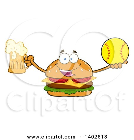 Clipart of a Cheeseburger Character Mascot Holding a Beer and Softball - Royalty Free Vector Illustration by Hit Toon