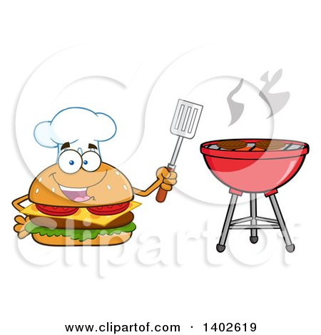 Clipart of a Chef Cheeseburger Character Mascot Holding a Spatula by a Bbq - Royalty Free Vector Illustration by Hit Toon