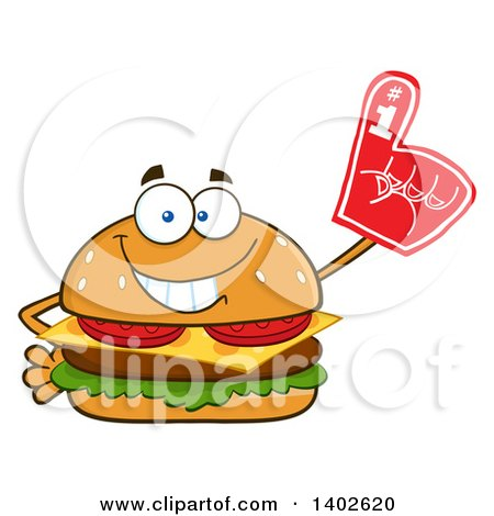 Clipart of a Cheeseburger Character Mascot Wearing a Foam Finger - Royalty Free Vector Illustration by Hit Toon