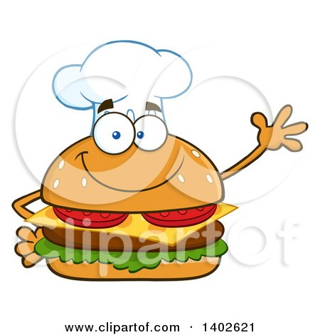 Clipart of a Chef Cheeseburger Character Mascot Waving - Royalty Free Vector Illustration by Hit Toon