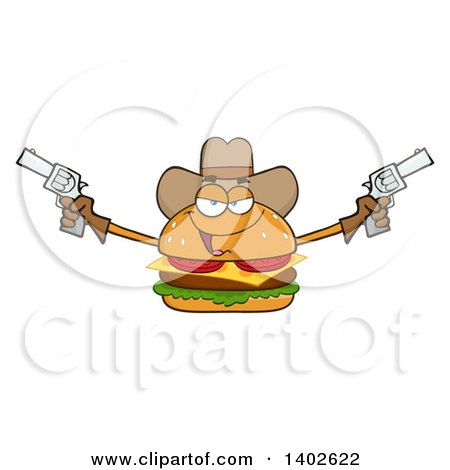 Clipart of a Cowboy Cheeseburger Character Mascot Holding Pistols - Royalty Free Vector Illustration by Hit Toon