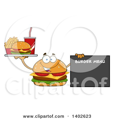 Clipart of a Cheeseburger Character Mascot Holding a Tray and Pointing to a Menu - Royalty Free Vector Illustration by Hit Toon
