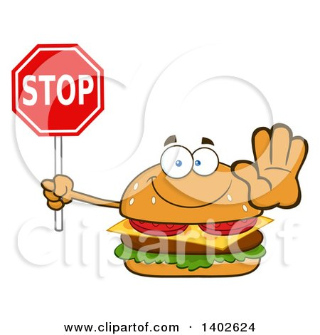 Clipart of a Cheeseburger Character Mascot Holding out a Hand and Stop Sign - Royalty Free Vector Illustration by Hit Toon