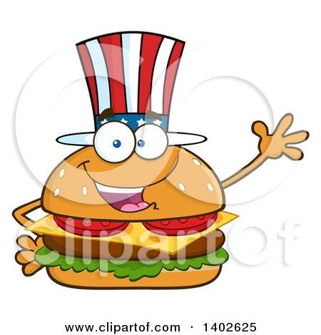 Clipart of a Patriotic American Cheeseburger Character Mascot Waving - Royalty Free Vector Illustration by Hit Toon