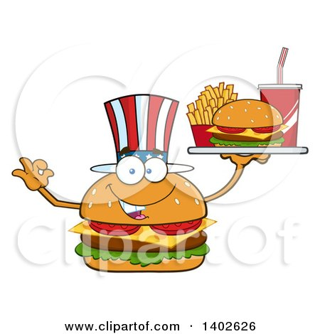 Clipart of a Patriotic American Cheeseburger Character Mascot Gesturing Ok and Holding a Tray - Royalty Free Vector Illustration by Hit Toon