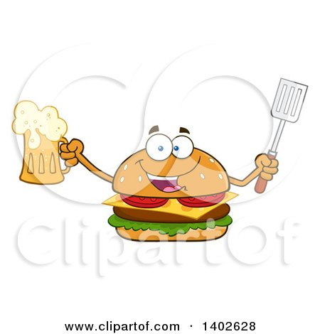 Clipart of a Cheeseburger Character Mascot Holding a Beer and Spatula - Royalty Free Vector Illustration by Hit Toon