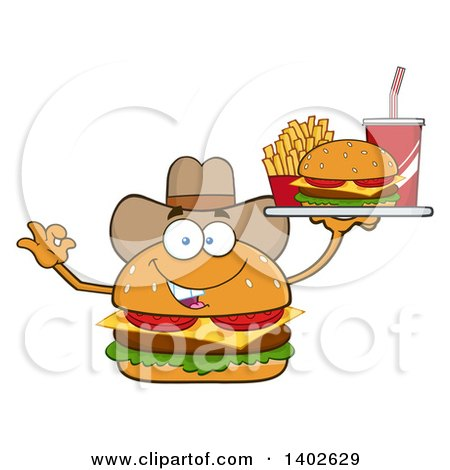 Clipart of a Cowboy Cheeseburger Character Mascot Gesturing Ok and Holding a Tray - Royalty Free Vector Illustration by Hit Toon