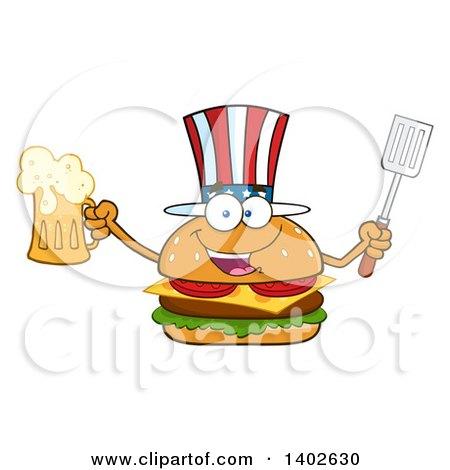 Clipart of a Patriotic American Cheeseburger Character Mascot Holding a Beer Mug and Spatula - Royalty Free Vector Illustration by Hit Toon