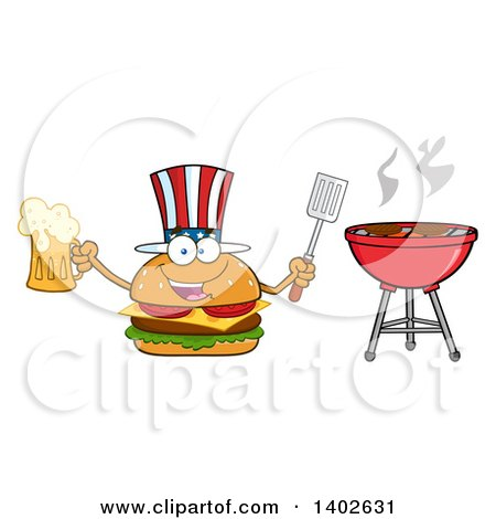 Clipart of a Patriotic American Cheeseburger Character Mascot Holding a Beer Mug and Spatula by a Bbq - Royalty Free Vector Illustration by Hit Toon