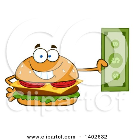 Clipart of a Cheeseburger Character Mascot Holding Cash Money - Royalty Free Vector Illustration by Hit Toon