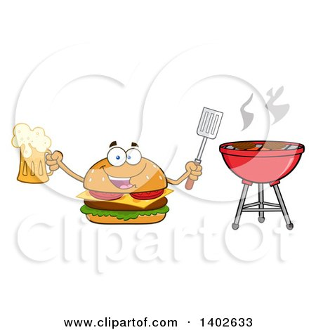 Clipart of a Cheeseburger Character Mascot Holding a Beer and Spatula by a Bbq - Royalty Free Vector Illustration by Hit Toon